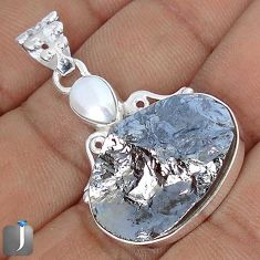 15.55cts NATURAL BLACK SILICON GEMSTONE PEARL 925 STERLING SILVER PENDANT G10891