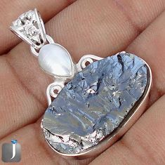 15.67cts NATURAL BLACK SILICON GEMSTONE PEARL 925 STERLING SILVER PENDANT G10893