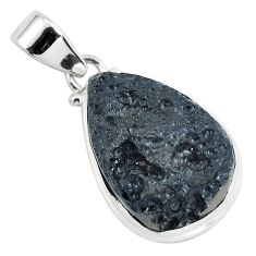 15.65cts natural black tektite 925 sterling silver pendant jewelry p46065