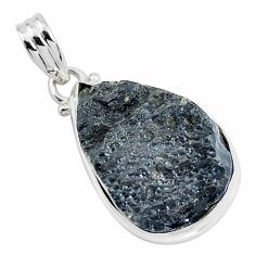 18.15cts natural black tektite 925 sterling silver pendant jewelry p46073