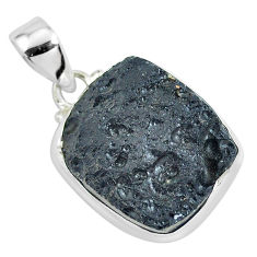 17.22cts natural black tektite 925 sterling silver pendant jewelry p46078