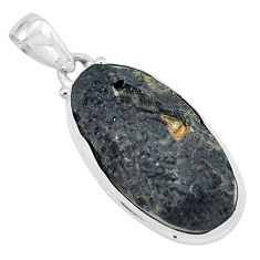 22.02cts natural black tektite 925 sterling silver pendant jewelry p59642