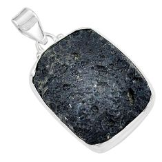 26.16cts natural black tektite 925 sterling silver pendant jewelry p59649