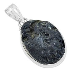 19.23cts natural black tektite 925 sterling silver pendant jewelry p59650