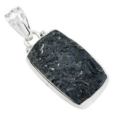 15.05cts natural black tektite octagan 925 sterling silver pendant p59643