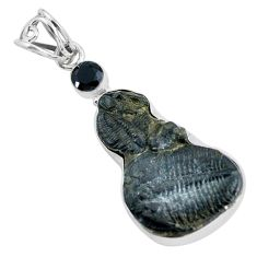 15.08cts natural black trilobite onyx 925 sterling silver pendant jewelry d31881