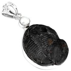 NATURAL BLACK TRILOBITE PEARL 925 STERLING SILVER FANCY PENDANT JEWELRY G95805