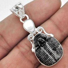 12.63CT NATURAL BLACK TRILOBITE PEARL 925 STERLING SILVER PENDANT JEWELRY G60145