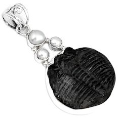 NATURAL BLACK TRILOBITE PEARL FANCY 925 STERLING SILVER PENDANT JEWELRY G95803