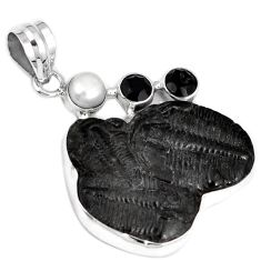 NATURAL BLACK TRILOBITE PEARL FANCY 925 STERLING SILVER PENDANT JEWELRY G95812