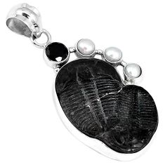 NATURAL BLACK TRILOBITE PEARL ONYX 925 STERLING SILVER PENDANT JEWELRY G95818