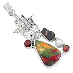 21.30cts natural bloodstone african 925 silver hand of god hamsa pendant d31847