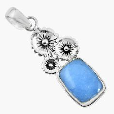 9.47cts natural blue angelite 925 sterling silver flower pendant jewelry p55021