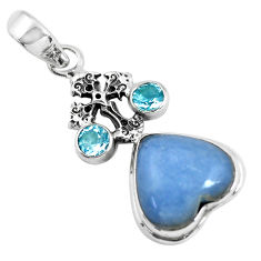 13.71cts natural blue angelite topaz 925 silver cross heart pendant p55039