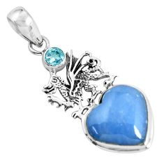 12.83cts natural blue angelite topaz 925 silver dragon heart pendant p55029