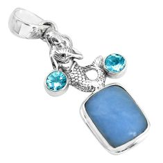 8.42cts natural blue angelite topaz 925 silver fairy mermaid pendant p55034