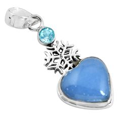 13.28cts natural blue angelite topaz 925 silver snowflake pendant p55035