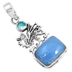 11.62cts natural blue angelite topaz 925 sterling silver dragon pendant p55022