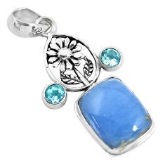 13.22cts natural blue angelite topaz 925 sterling silver flower pendant p55031