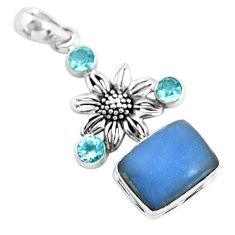 12.45cts natural blue angelite topaz 925 sterling silver flower pendant p55036