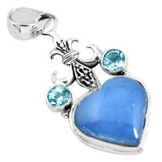 13.71cts natural blue angelite topaz 925 sterling silver heart pendant p55026