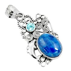 11.59cts natural blue apatite (madagascar) 925 silver dolphin pendant p90257