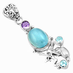 9.37cts natural blue aquamarine 925 silver angel wings fairy pendant p72888