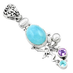 9.84cts natural blue aquamarine 925 silver angel wings fairy pendant p72898