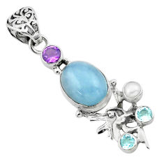 9.37cts natural blue aquamarine 925 silver angel wings fairy pendant p72901