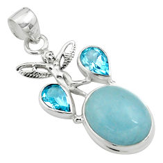 15.64cts natural blue aquamarine 925 silver angel wings fairy pendant p77843