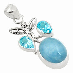14.87cts natural blue aquamarine 925 silver angel wings fairy pendant p77849