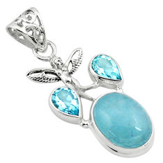 16.46cts natural blue aquamarine 925 silver angel wings fairy pendant p77856