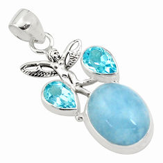 15.26cts natural blue aquamarine 925 silver angel wings fairy pendant p78288