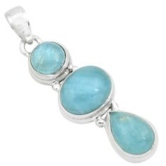 11.71cts natural blue aquamarine 925 sterling silver pendant jewelry p67474
