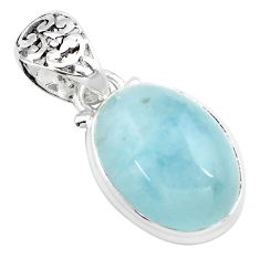 14.40cts natural blue aquamarine 925 sterling silver pendant jewelry p72841