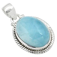 14.41cts natural blue aquamarine 925 sterling silver pendant jewelry p77861