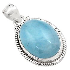 17.09cts natural blue aquamarine 925 sterling silver pendant jewelry p77863