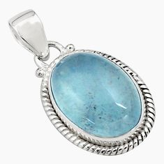 14.23cts natural blue aquamarine 925 sterling silver pendant jewelry p77876