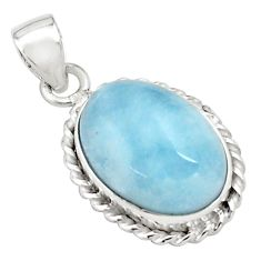 14.72cts natural blue aquamarine 925 sterling silver pendant jewelry p77887