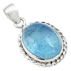 14.40cts natural blue aquamarine 925 sterling silver pendant jewelry p77899