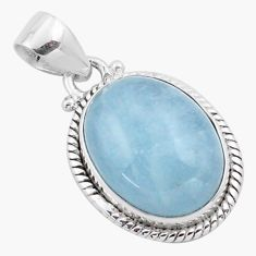 13.77cts natural blue aquamarine 925 sterling silver pendant jewelry p88432