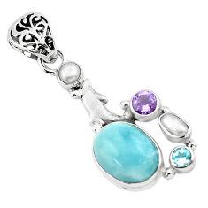 9.83cts natural blue aquamarine amethyst 925 silver dolphin pendant p72868
