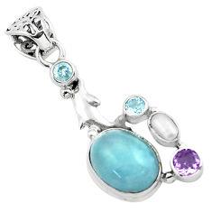 9.37cts natural blue aquamarine amethyst 925 silver dolphin pendant p72881