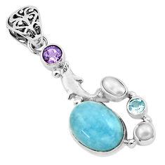9.83cts natural blue aquamarine amethyst 925 silver dolphin pendant p72883