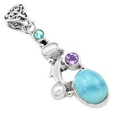 9.83cts natural blue aquamarine amethyst 925 silver dolphin pendant p72886