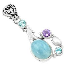 9.37cts natural blue aquamarine amethyst 925 silver dolphin pendant p72891