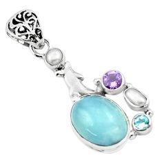 9.37cts natural blue aquamarine amethyst 925 silver dolphin pendant p72896