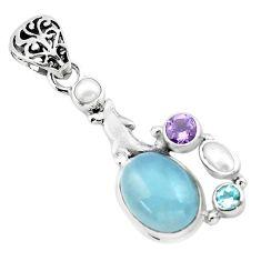 9.65cts natural blue aquamarine amethyst 925 silver dolphin pendant p72905