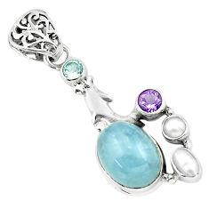 9.65cts natural blue aquamarine amethyst 925 silver dolphin pendant p72907