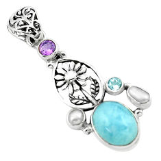 11.05cts natural blue aquamarine amethyst 925 silver flower pendant p72861